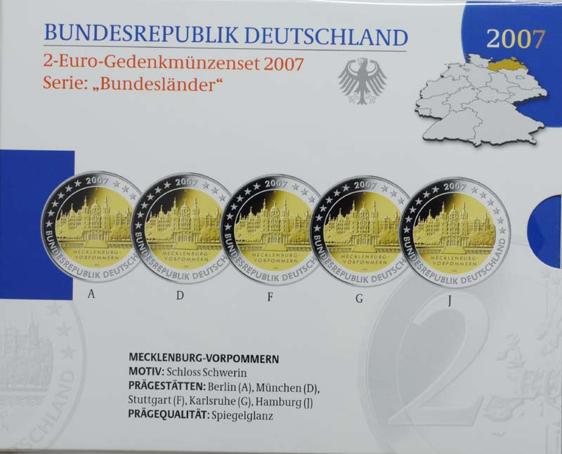 Übersicht:Deutschland : 2 Euro Mecklenburg - Vorpommern Schloß Schwerin Komplettsatz im Originalblister  2007 PP