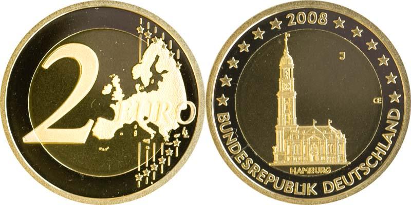 Übersicht:Deutschland : 2 Euro Hamburger Michel  2008 bfr