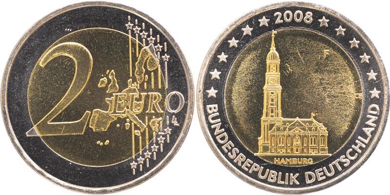 Übersicht:Deutschland : 2 Euro Hamburger Michel - Variante mit alter Wertseite  2008 Stgl.