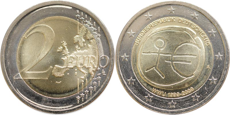 Deutschland : 2 Euro 10 Jahre Euro  2009 Stgl.