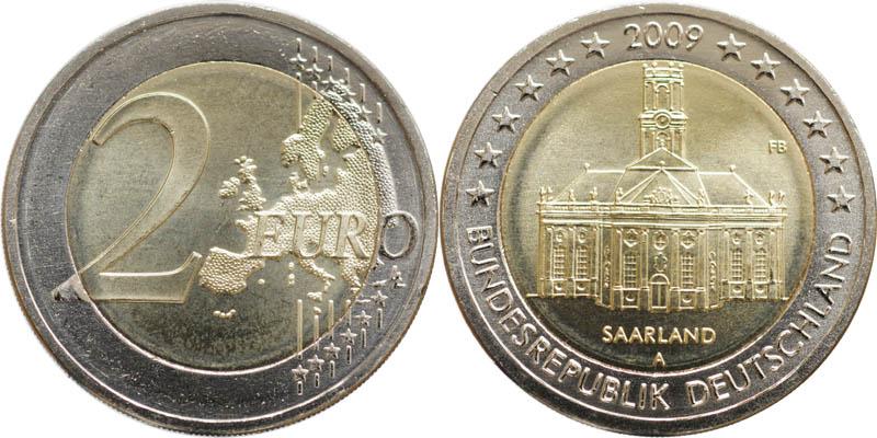 Übersicht:Deutschland : 2 Euro Set: A-J Saarland : Ludwigskirche in Saarbrücken  2009 Stgl. 2 Euro Saarland 2009