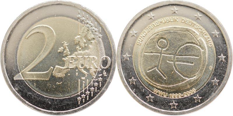 Übersicht:Deutschland : 2 Euro 10 Jahre Euro  2009 Stgl.