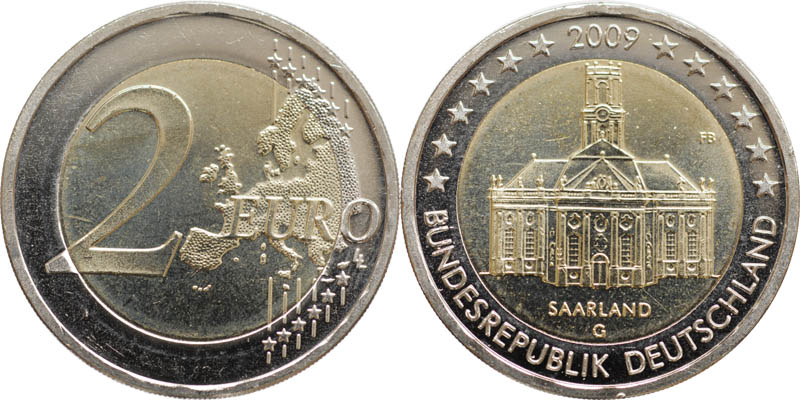Deutschland : 2 Euro Saarland : Ludwigskirche in Saarbrücken  2009 bfr