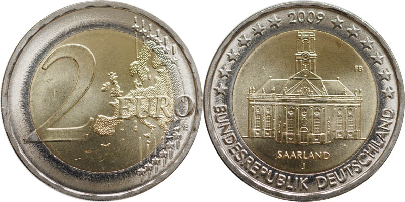 Lieferumfang:Deutschland : 2 Euro Saarland : Ludwigskirche in Saarbrücken  2009 Stgl. 2 Euro Saarland 2009
