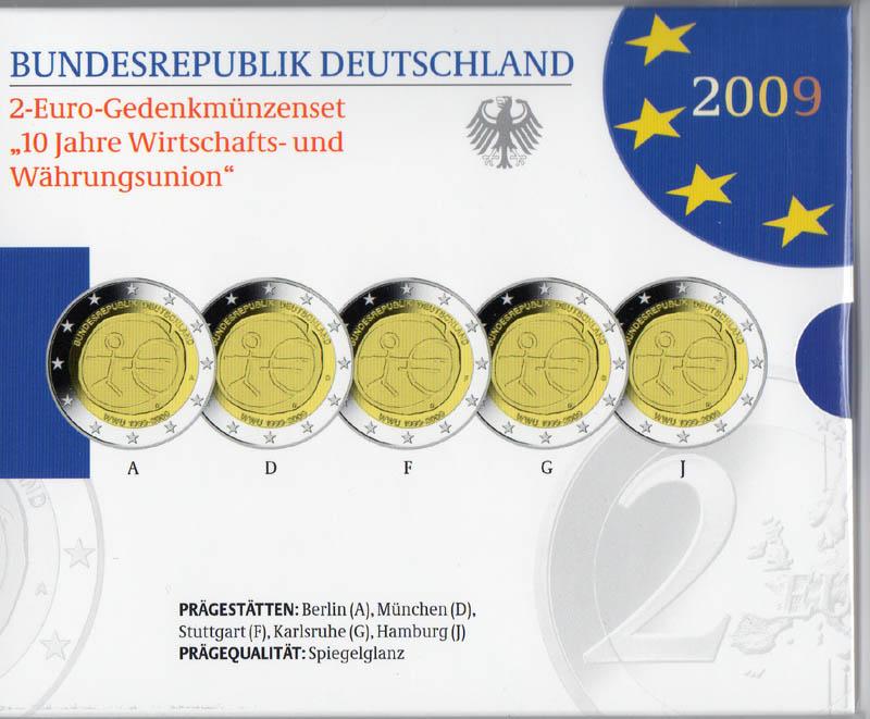 Lieferumfang:Deutschland : 2 Euro Set im Originalblister 5 x 2 Euro 10 Jahre Euro  2009 PP