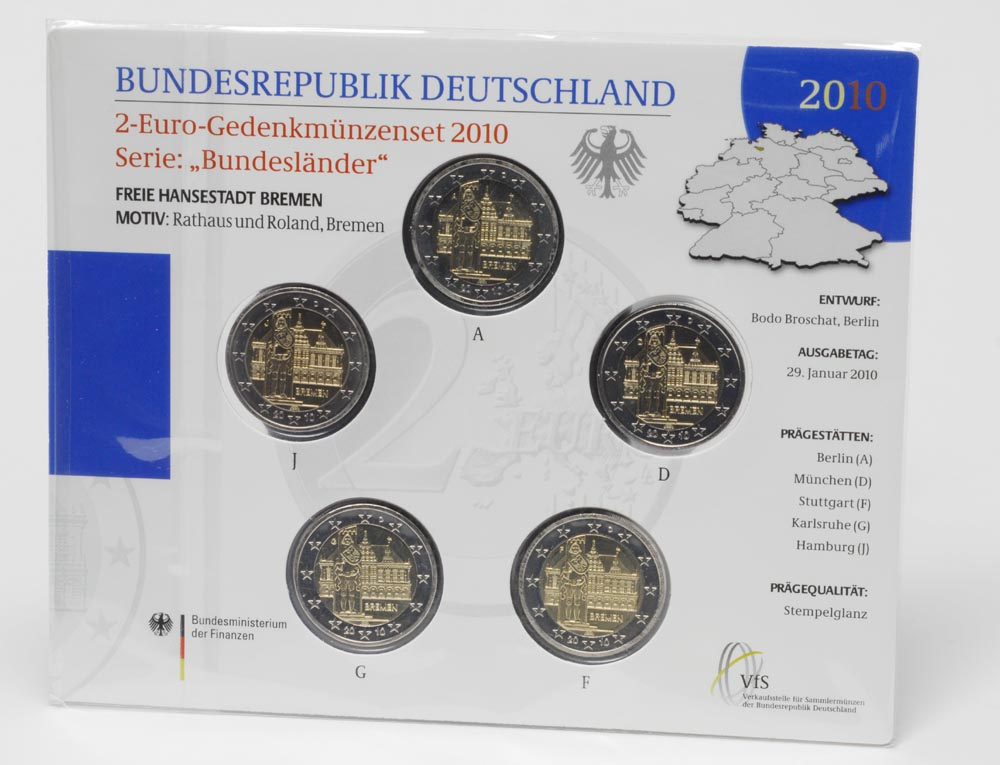 Deutschland : 2 Euro Bremen : Rathaus und Roland Komplettsatz im Originalblister 5 x 2 Euro  2010 Stgl.
