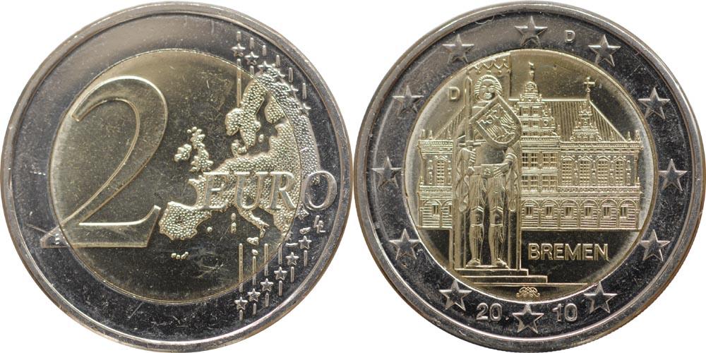 Übersicht:Deutschland : 2 Euro Bremen  2010 bfr