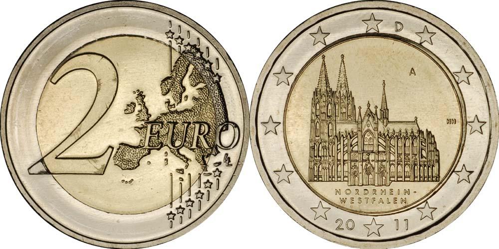 Lieferumfang:Deutschland : 2 Euro Nordrhein-Westfalen Kölner Dom  2011 bfr