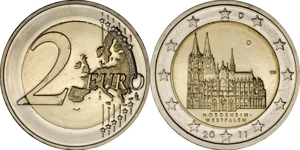 Übersicht:Deutschland : 2 Euro Nordrhein-Westfalen Kölner Dom  2011 bfr