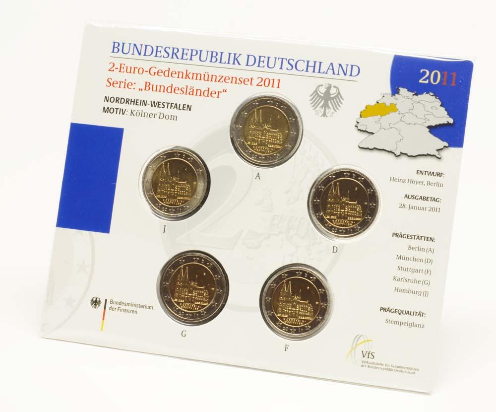 Lieferumfang:Deutschland : 2 Euro Nordrhein-Westfalen Kölner Dom Komplettsatz im Originalblister 5 x 2 Euro  2011 Stgl.