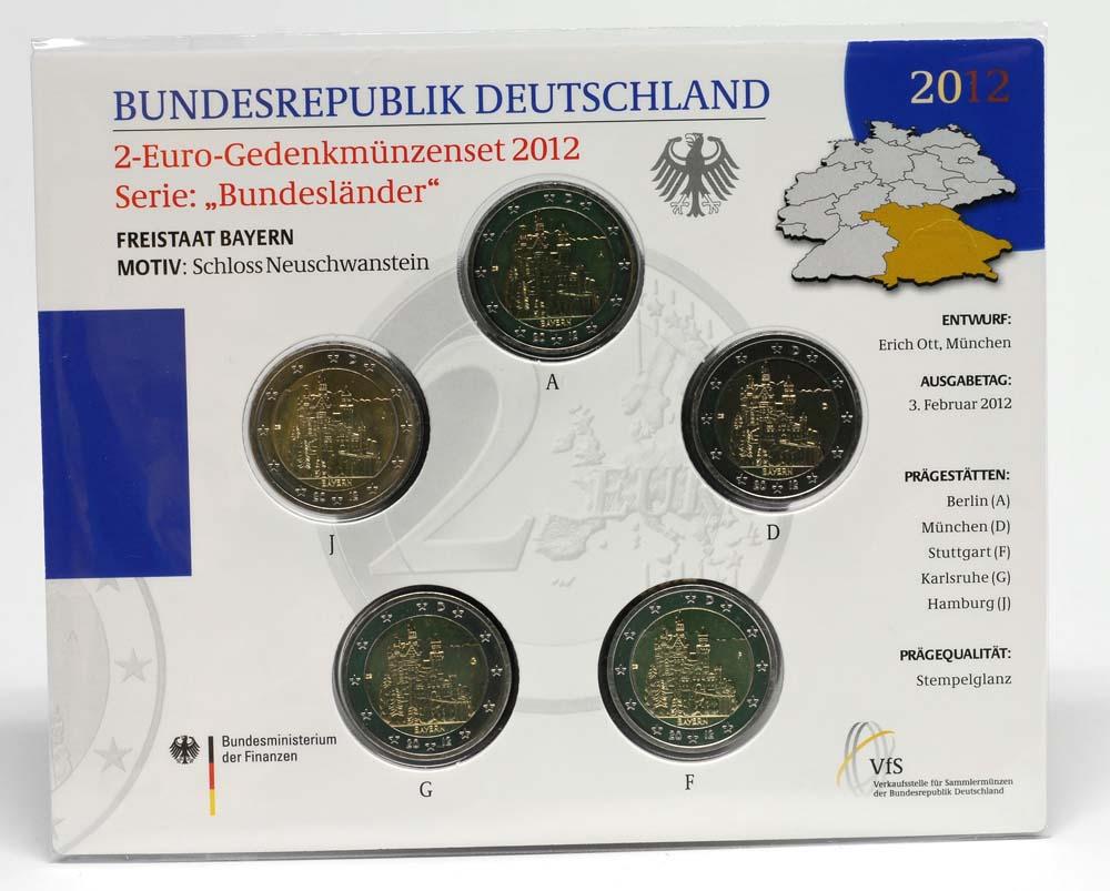Deutschland : 2 Euro Bayern - Schloss Neuschwanstein  Komplettsatz 5x2 Euro  2012 Stgl.