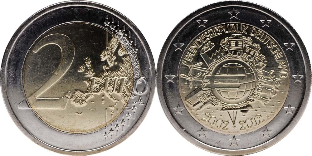 Deutschland 2 Euro 10 Jahre Euro Bargeld 2012 A Div Stgl 389 Euro