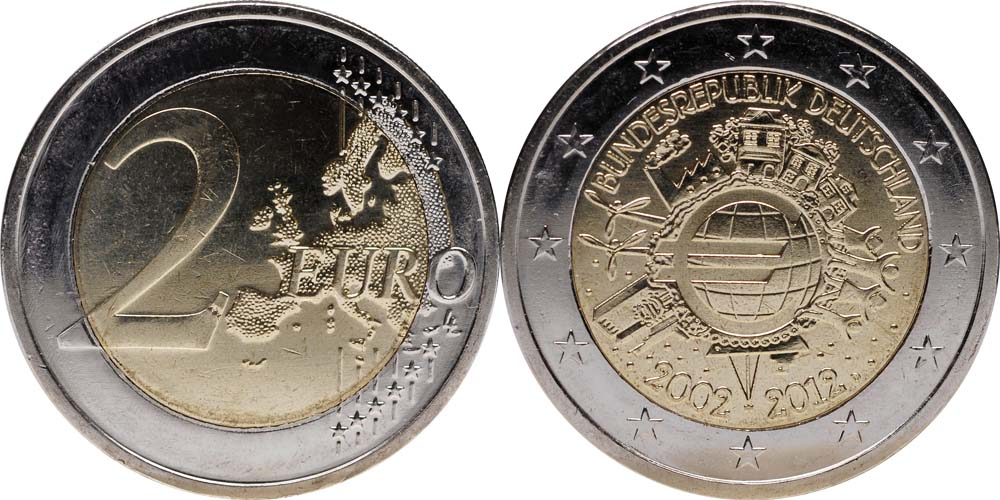 Deutschland : 2 Euro 10 Jahre Euro Bargeld  2012 Stgl.