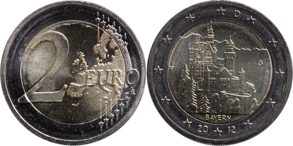 Deutschland : 2 Euro Schloss Neuschwanstein  2012 bfr
