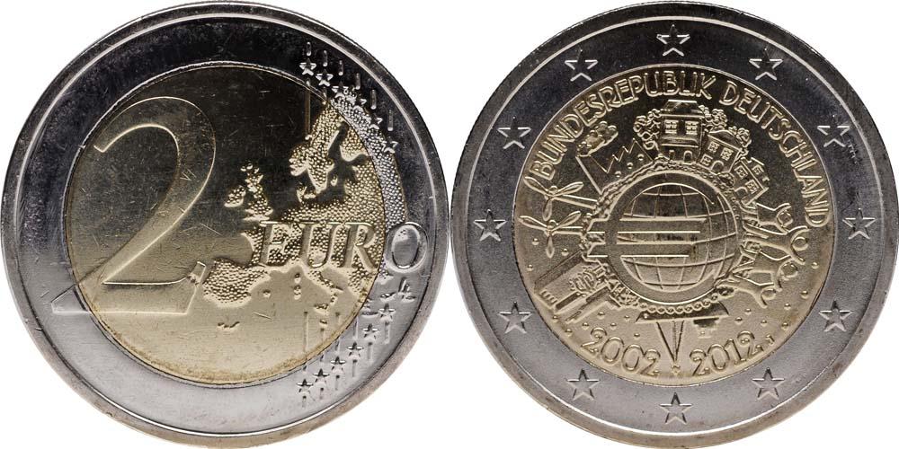 Deutschland : 2 Euro 10 Jahre Euro Bargeld  2012 bfr