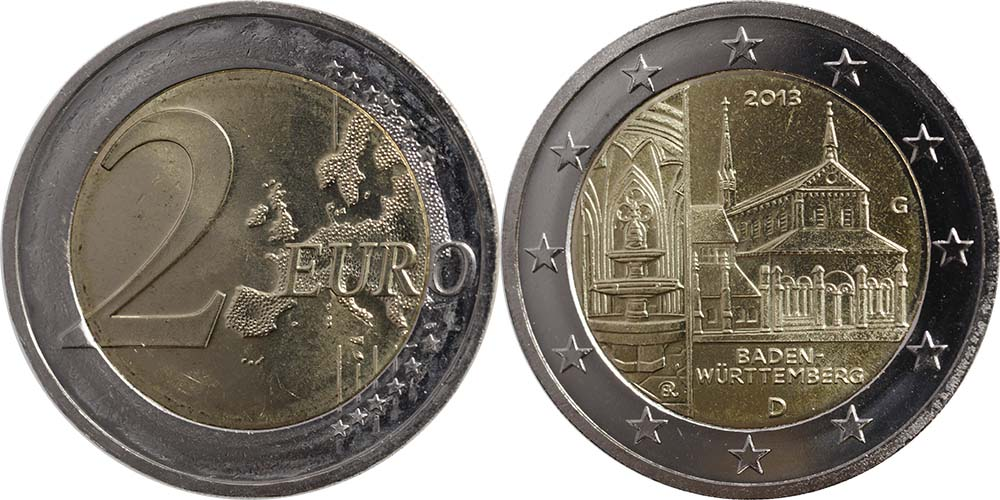 Deutschland : 2 Euro Baden Württemberg - Zisterzienserkloster Maulbronn  2013 Stgl.