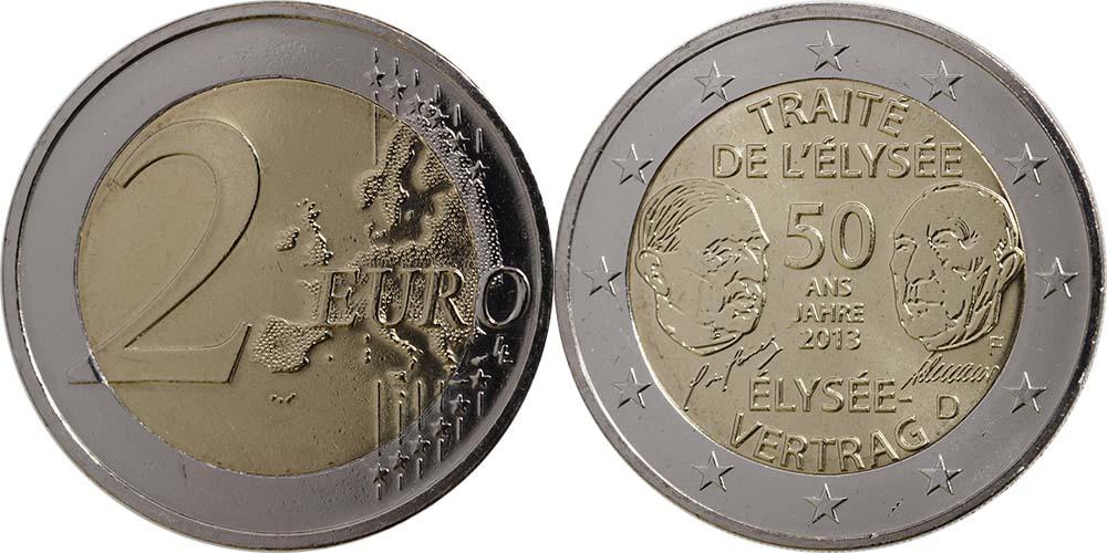 Übersicht:Deutschland : 2 Euro Elysée-Vertrag  2013 Stgl.