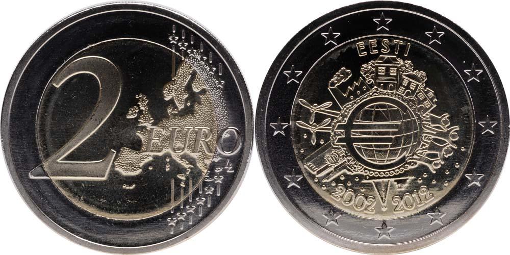 Lieferumfang:Estland : 2 Euro 10 Jahre Euro Bargeld  2012 bfr