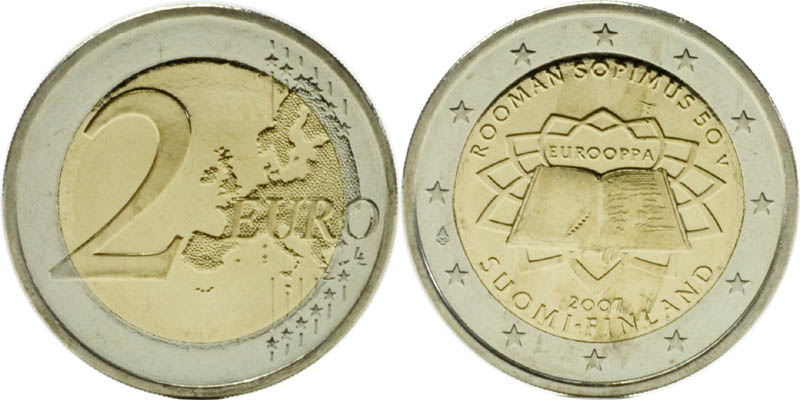 Finnland : 2 Euro Römische Verträge  2007 bfr