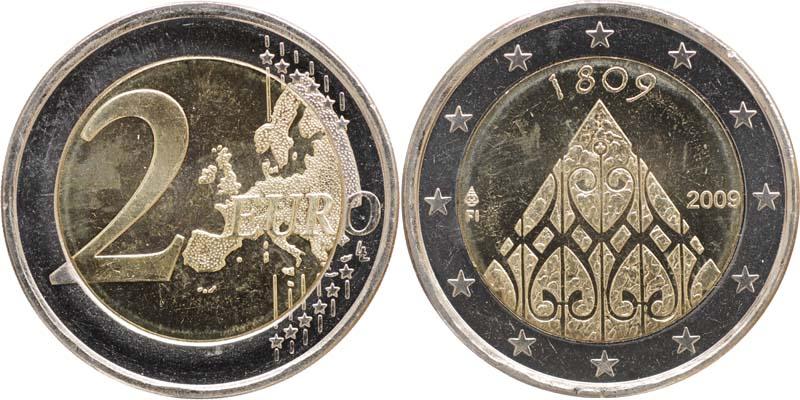 Finnland : 2 Euro 200 Jahrestag der Autonomie  2009 bfr 2 Euro Porvoo