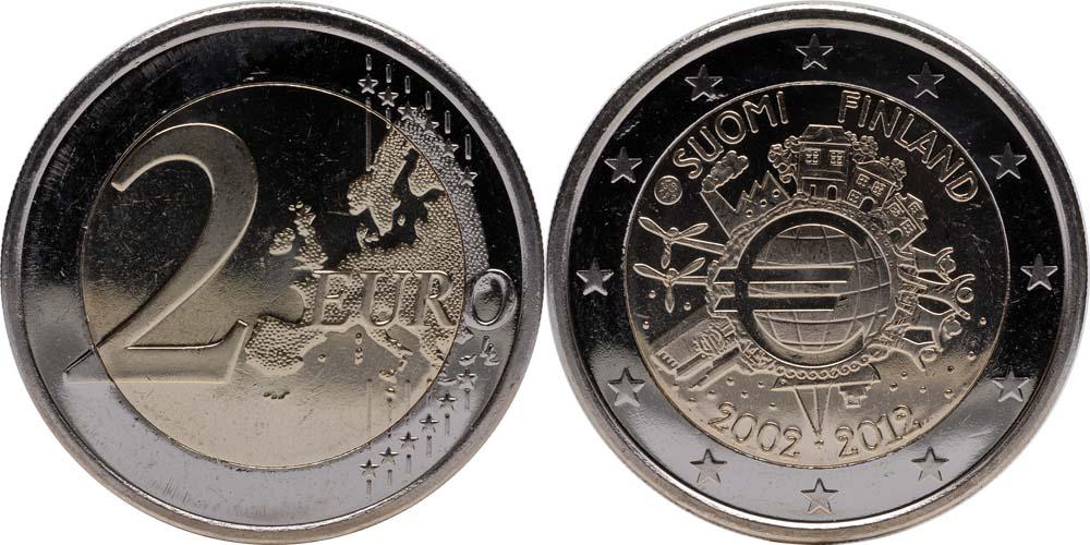 Finnland : 2 Euro 10 Jahre Euro Bargeld  2012 bfr