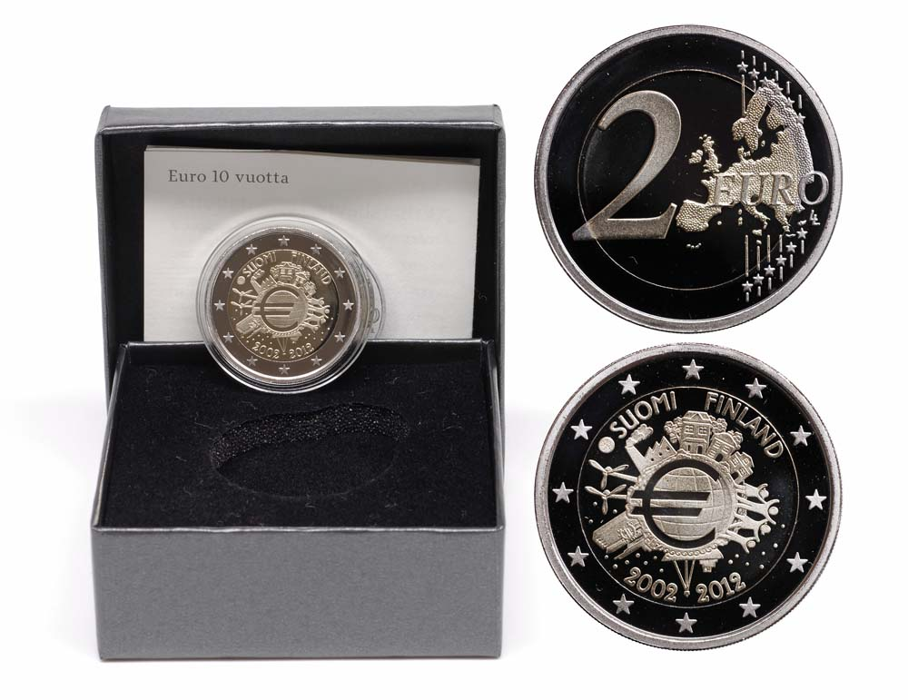 Lieferumfang:Finnland : 2 Euro 10 Jahre Euro Bargeld  2012 PP