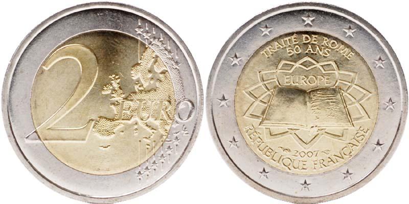 Frankreich : 2 Euro Römische Verträge  2007 bfr