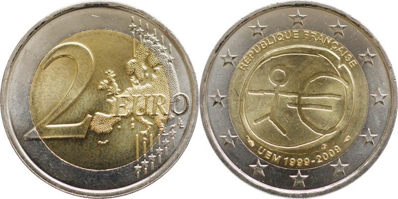 Frankreich : 2 Euro 10 Jahre Euro  2009 bfr