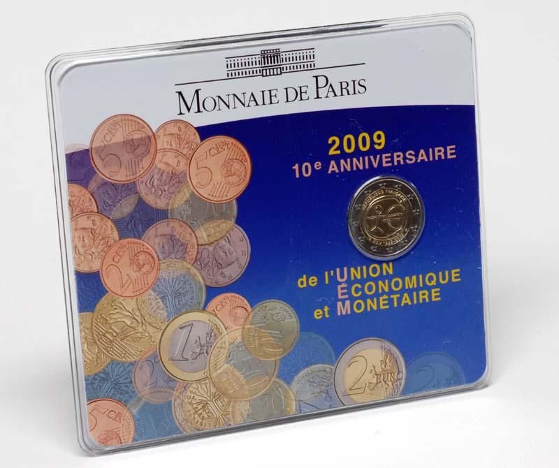 Frankreich : 2 Euro 10 Jahre Euro im Originalblister  2009 Stgl.