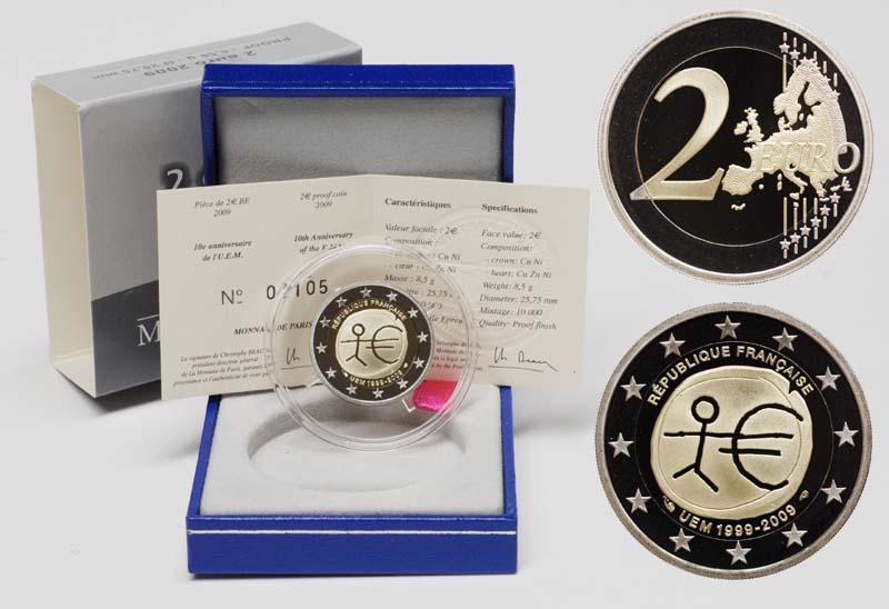 Frankreich : 2 Euro 10 Jahre Euro inkl. Originaletui und Zertifikat  2009 PP