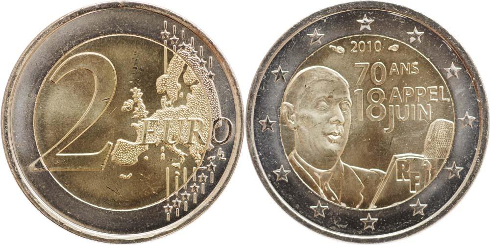 Übersicht:Frankreich : 2 Euro Appell des 18. Juni 1940  2010 bfr