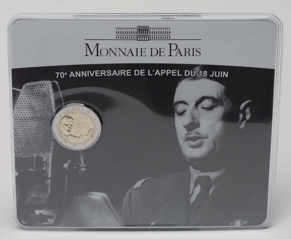 Lieferumfang:Frankreich : 2 Euro Appell des 18. Juni 1940 im Originalblister  2010 Stgl.
