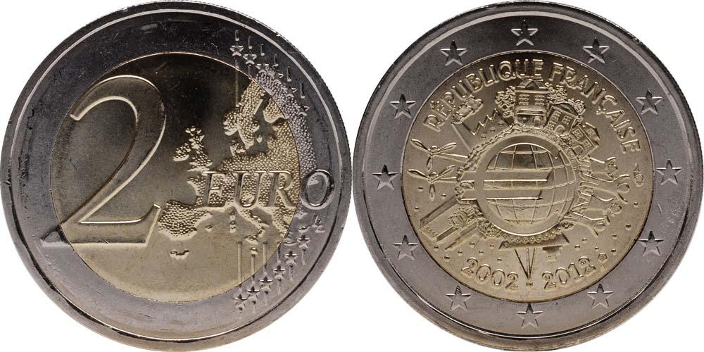 Lieferumfang:Frankreich : 2 Euro 10 Jahre Euro Bargeld  2012 bfr