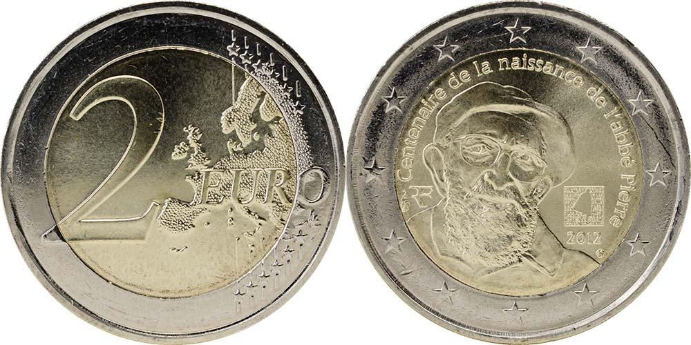 Lieferumfang:Frankreich : 2 Euro Abbé Pierre  2012 bfr