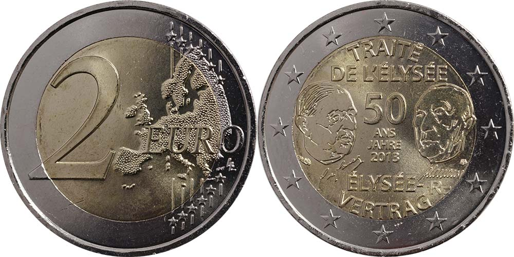 Lieferumfang:Frankreich : 2 Euro 50 Jahre Elysée-Vertrag  2013 bfr