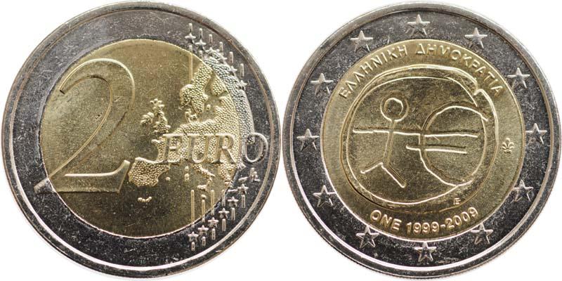 Griechenland : 2 Euro 10 Jahre Euro  2009 bfr