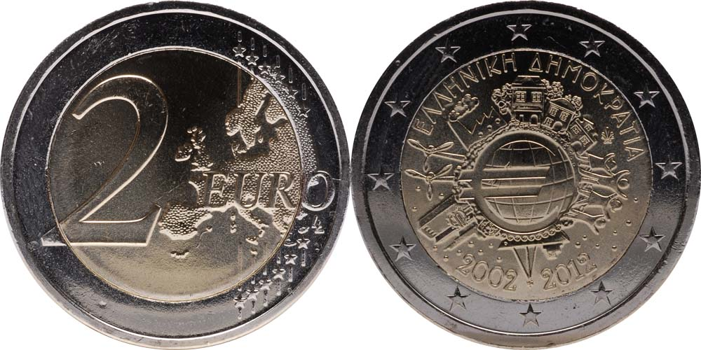 Übersicht:Griechenland : 2 Euro 10 Jahre Euro Bargeld  2012 Stgl.