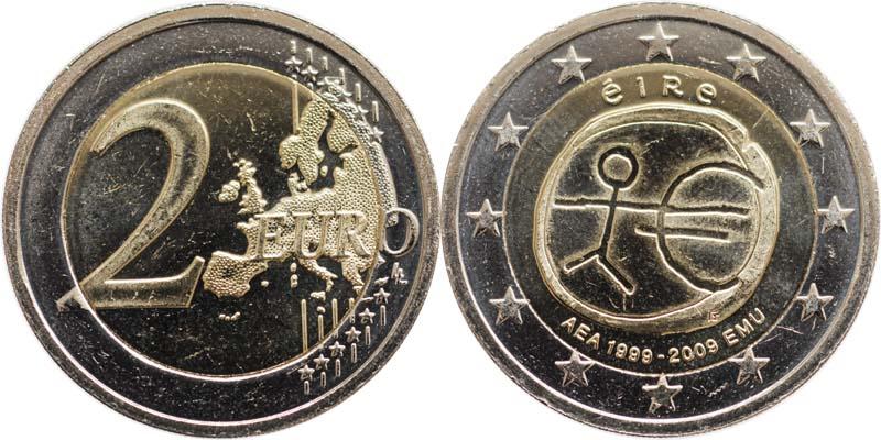 Irland : 2 Euro 10 Jahre Euro  2009 bfr