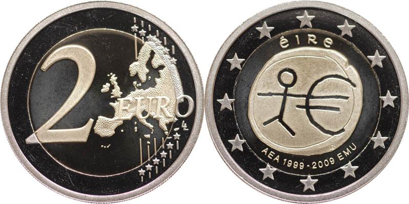 Übersicht:Irland : 2 Euro 10 Jahre Euro in Originalkapsel  2009 PP 2 Euro Irland 2009 PP