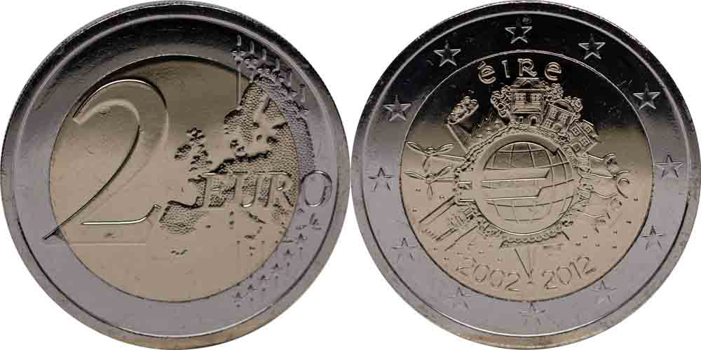 Lieferumfang:Irland : 2 Euro 10 Jahre Euro Bargeld  2012 bfr