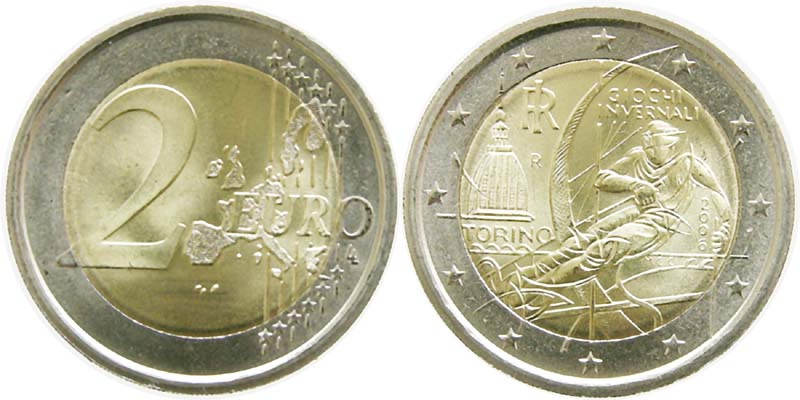 Lieferumfang:Italien : 2 Euro Olympiade Turin  2006 bfr 2 Euro Italien 2006;Olympiade Turin
