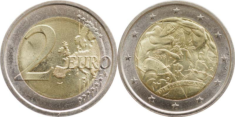 Italien : 2 Euro Menschenrechte  2008 bfr 2 Euro Menschenrechte