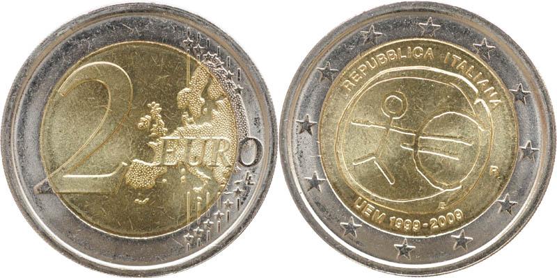 Lieferumfang:Italien : 2 Euro 10 Jahre Euro  2009 bfr