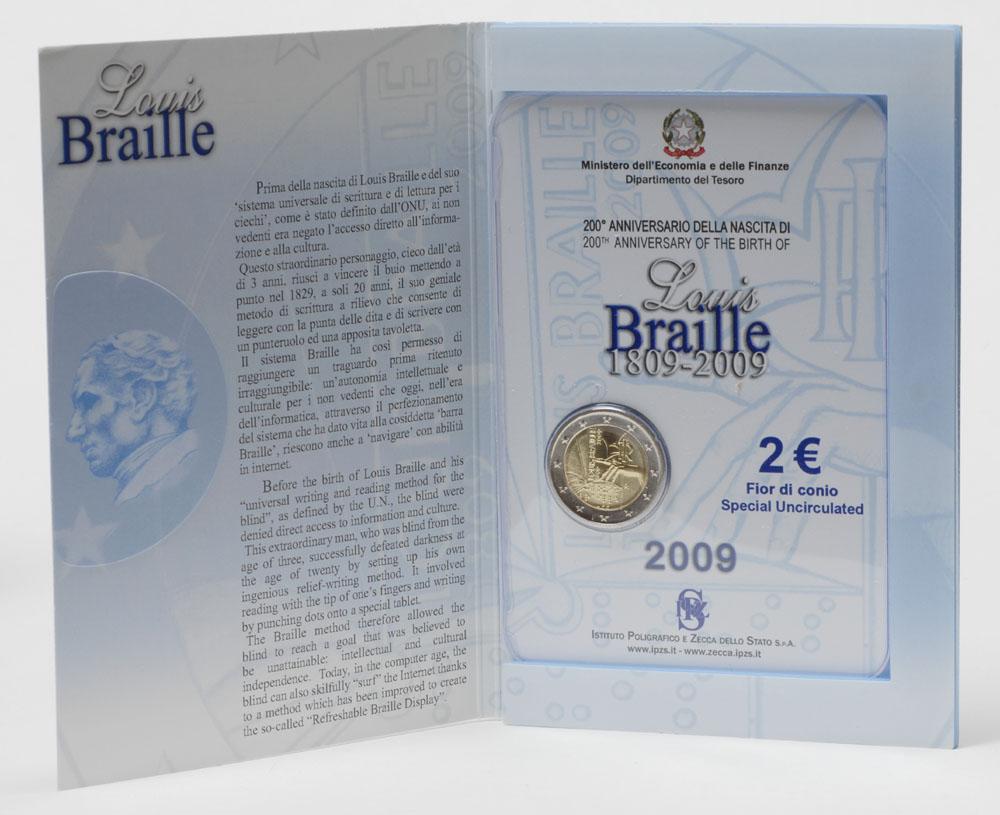 Italien : 2 Euro Louis Braille  2009 Stgl.