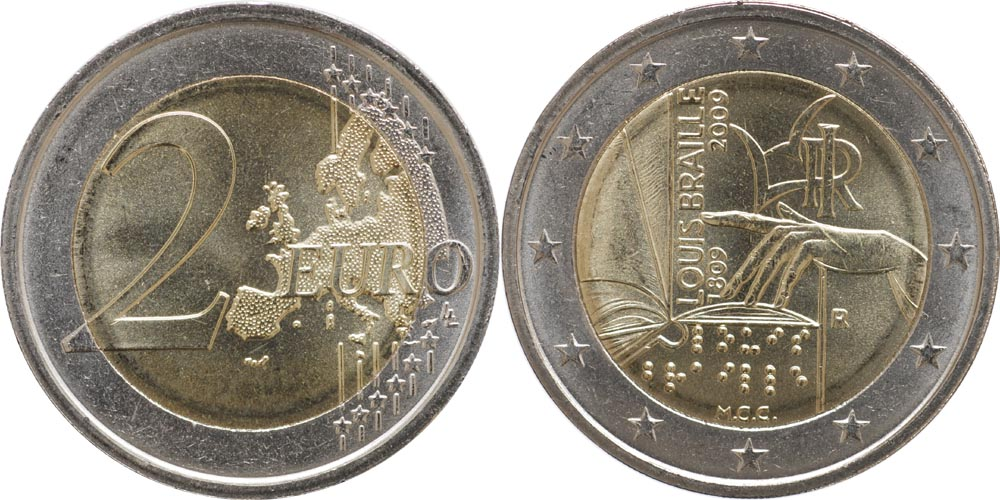 Italien : 2 Euro Louis Braille  2009 bfr