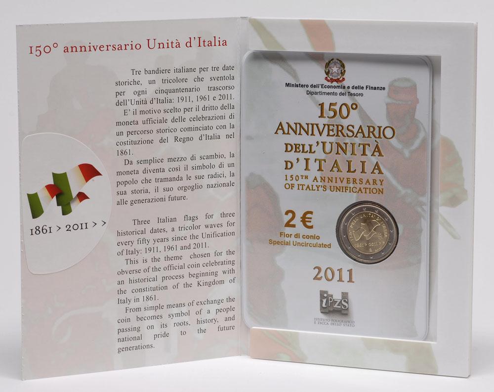 Lieferumfang:Italien : 2 Euro 150 Jahre Einigung Italiens  2011 Stgl.