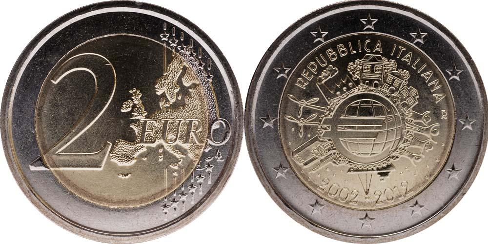 Übersicht:Italien : 2 Euro 10 Jahre Euro Bargeld  2012 bfr