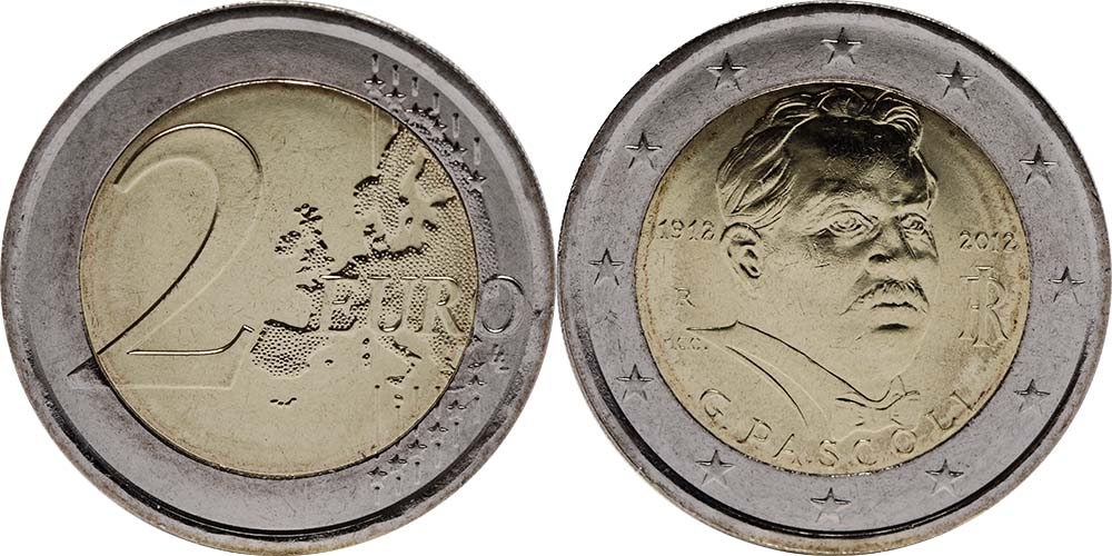 Italien : 2 Euro 100. Todestag Giovanni Pascoli  2012 bfr