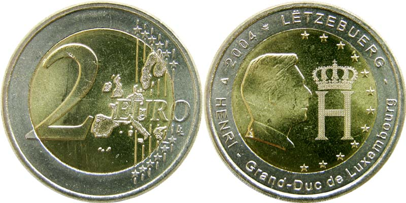 Übersicht:Luxemburg : 2 Euro Herzog Henri  2004 bfr