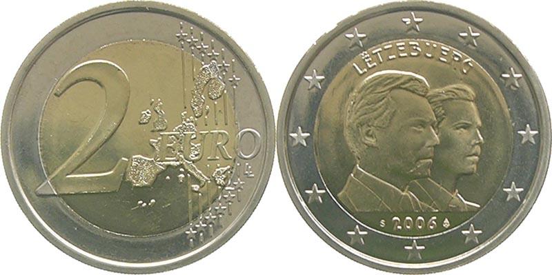 Luxemburg : 2 Euro 25. Geburtstag von Erbgroßherzog Guillaume  2006 bfr 2 Euro Luxemburg 2006
